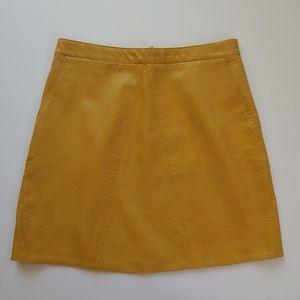 Zara Mustard Faux Leather Skirt NWOT